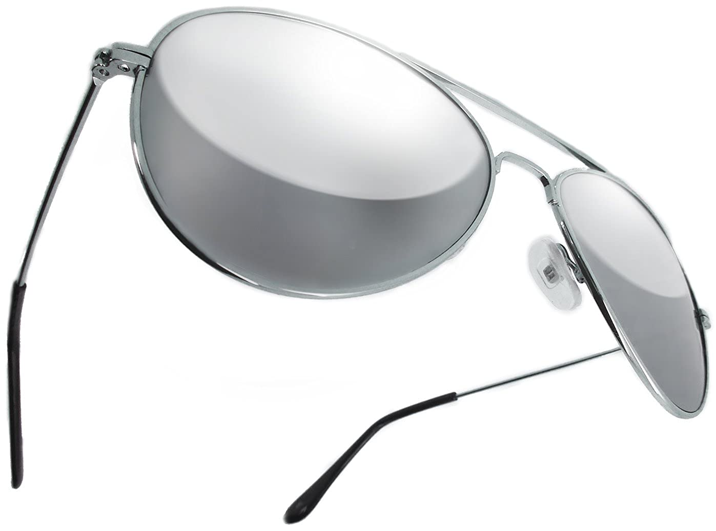 63ee42b2ab0 Aviator 70 s Style Classic Full Mirror Chrome Silver Sunglasses with  distortion free GLASS lens  Amazon.co.uk  Clothing
