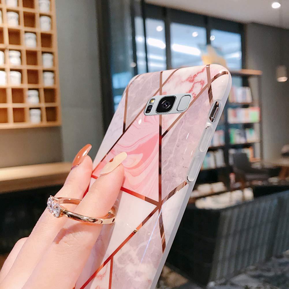 Surakey Cover Compatibile con Samsung Galaxy S8 Custodia Silicone Morbido Modello Geometric Marmo Case con Flessibile TPU Bumper Moda Ultra Slim Anti-Scratch Cover per Samsung Galaxy S8,Verde