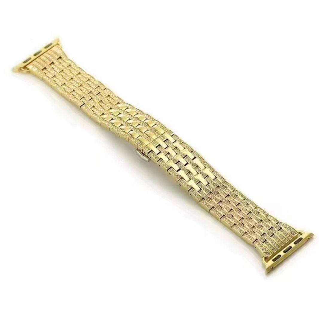 ダイヤモンドステンレススチールストラップ、RTYOu ( TM )耐久性合金ラインストーンダイヤモンドスチールWatch Band for Apple Watchシリーズ1 / 2 42 mm  ゴールド B0787WX8JG