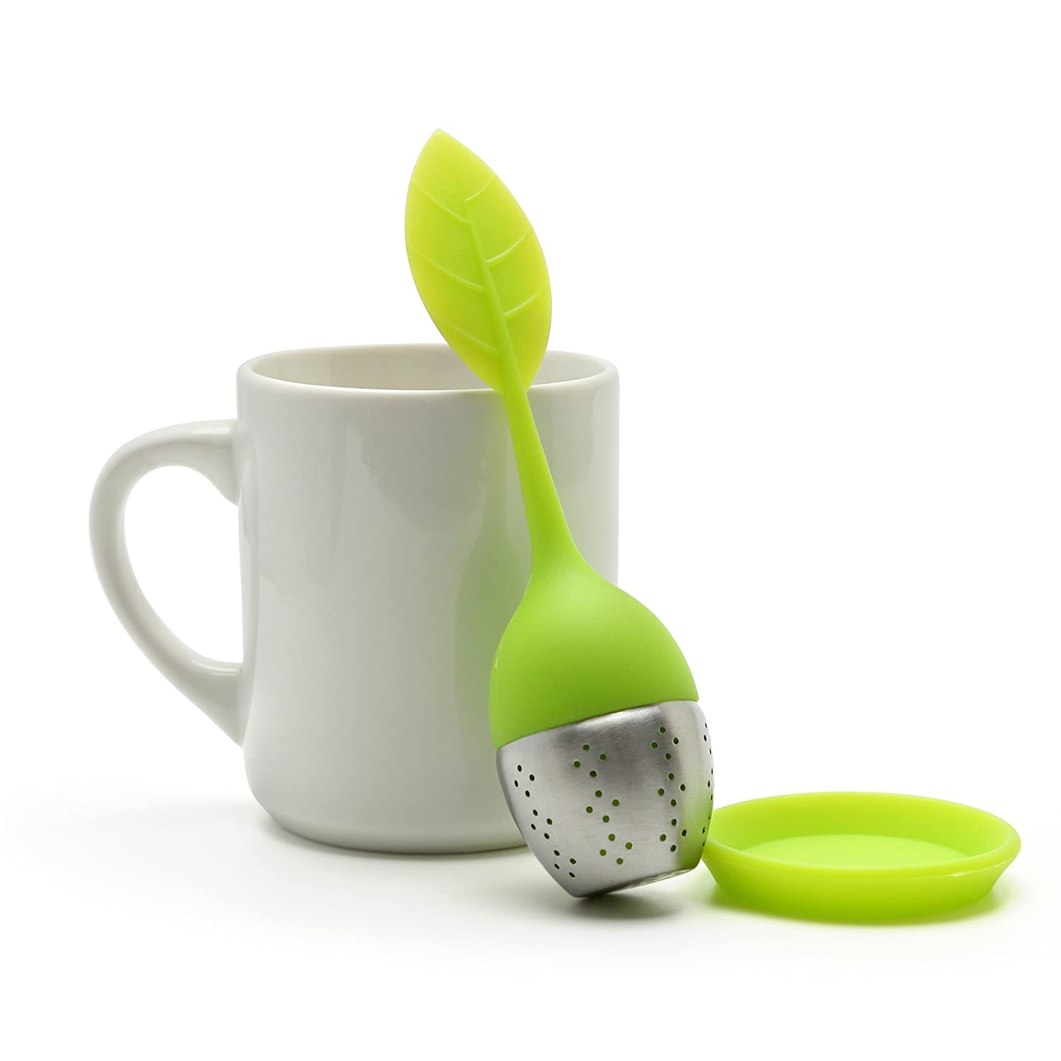 M-HG038 By Xcellent Global Tea Infuser Leaf Strainer Handle with Steel Ball Green
