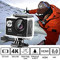 4K Action Camera,Banne 4D3 Ultra HD Waterproof DV Camcorder 12MP 170 Degree Wide Angle- Include Full Accesspries Kits (Black)
