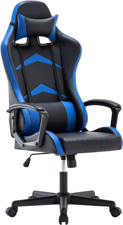 IntimaTe WM Heart Silla Gaming con Respaldo Alto Cojín Lumbar & Cabeza Almohada, Altura Ajustable 360° Giratorio y Reposabrazos Fijos (Azul)