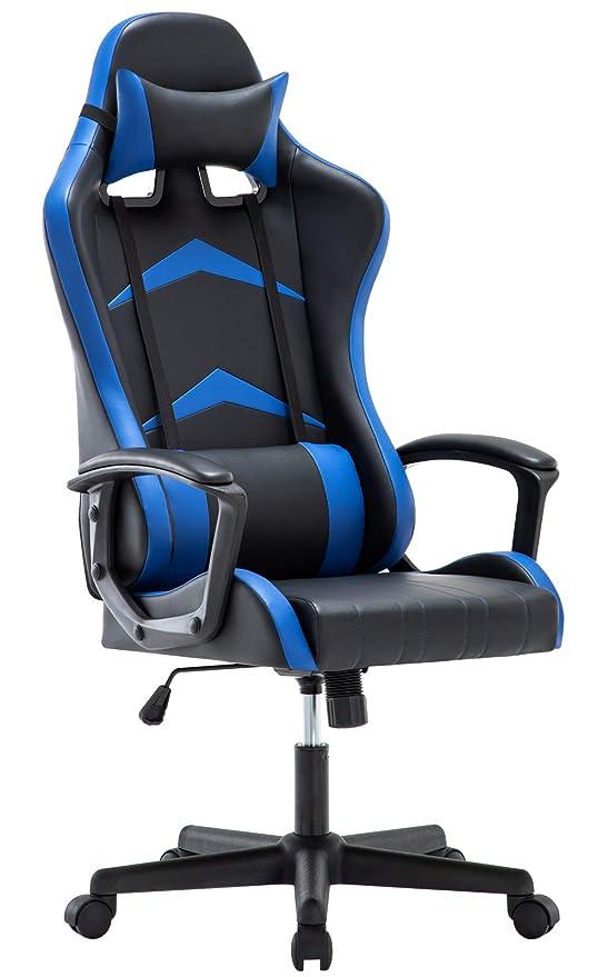 IWMH Silla Gaming con Respaldo Alto Cojín Lumbar & Cabeza Almohada, Altura Ajustable 360° Giratorio y Reposabrazos Fijos (Azul)