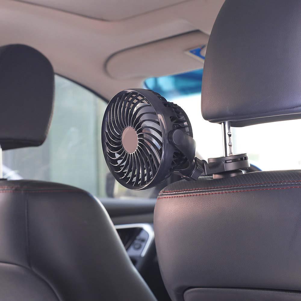 Personal Handheld or Desk Fan for Office//Camping//Travel 2200mAh Battery Powered Portable Car Air Circulator Fan Baby Car Fan Powerful Quiet 4 Speed 360/° Rotatable Backseat Car Fan for Sedan SUV RV