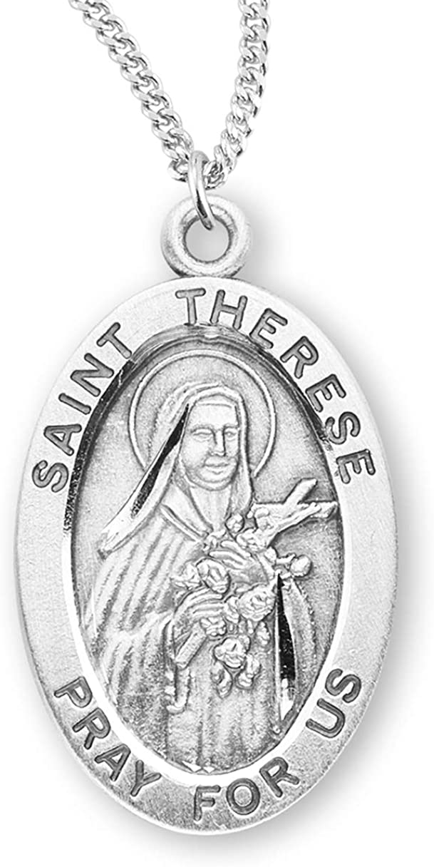 Therese Medal With 18 Chain Necklace Sterling Silver St