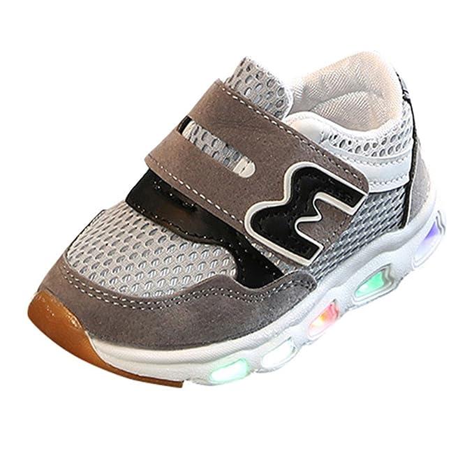 YanHoo Zapatos para niños Los niños Netos de niños y niñas de Letras de impresión de una Sola Red LED luz Zapatos Zapatos Casuales Zapatos Deportivos ...