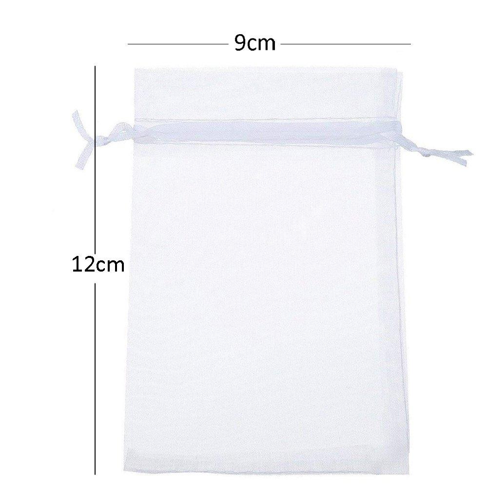 d6cf80a1c Gespout 100 unidades bolsitas de organza bolsa de regalo bonito bolsillos  Cordón para joyas boda Partie y DIY Decoración, 9 x 12 cm, color blanco: ...