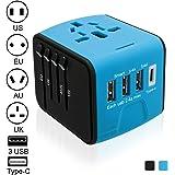 [Adattatori da Viaggio] Luxebell All-in-one Adattatore Universale (US / EU / UK / AUS) con 3 Porte USB 1 Tipo C Portatile Adattatore Converter per Oltre 150 Nazione Internazionale Blu