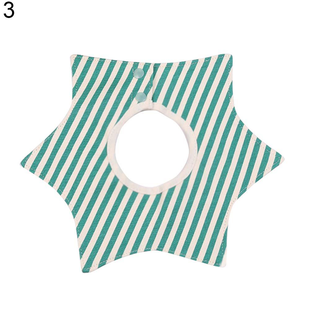 CHoppyWAVE Baby Bibs, 360 Degree Round Neck Saliva Towel Stripe Star Print Baby Kids Infant Cotton Bib - 5#