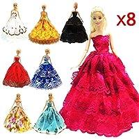 ZHIHU 8 Pcs Barbie Handmade Fashion Wedding Party Gown...