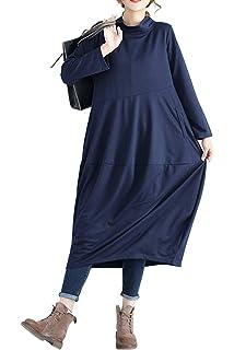 Vestito Oversize Donna Elegante Retro Abito Lungo Autunno Inverno Basic  Jersey Vestiti Taglie Comode Maniche Lunghe 7d11f3647b6