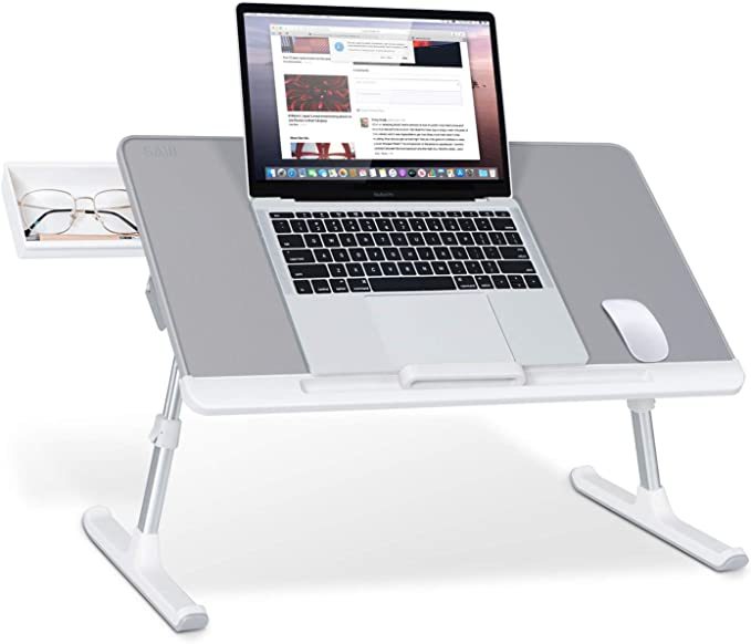 Laptop Bed Tray Table, SAIJI Adjustable PVC Leather Laptop Bed Table, Portable Standing Desk with Storage Drawer, Foldable Lap Tablet Table for Sofa Couch Floor (Gray,Large)   Amazon