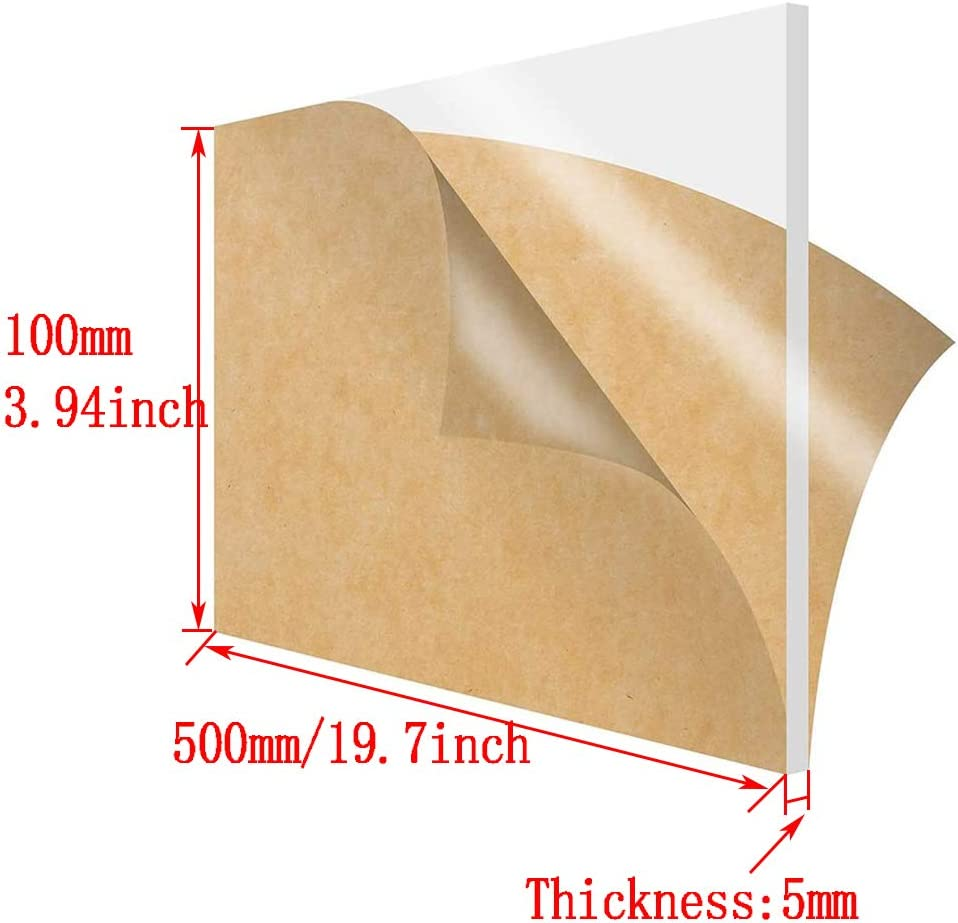 2PCS Transparent Perspex Sheet Panel DIY Crafts Clear Acrylic Plexiglass Plastic Board Thickness 5mm,100x350mm