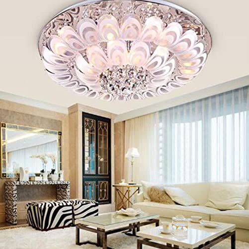 Modern Crystal Ceiling Chandelier with Remote Control LED 7-Color Luxury Round Flush Mount Ceiling Light Indoor Pendant Lamp Lighting Fixture for Living Room, Dining Room, Bedroom 31.5 Inch
