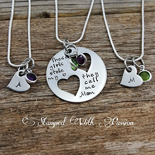 Mommy Jewelry (Mother Daughter Necklace Set - Mother two 2 Daughters Jewelry Set of 3 - Mommy and Me - Mother Child Jewelry - Mother's)