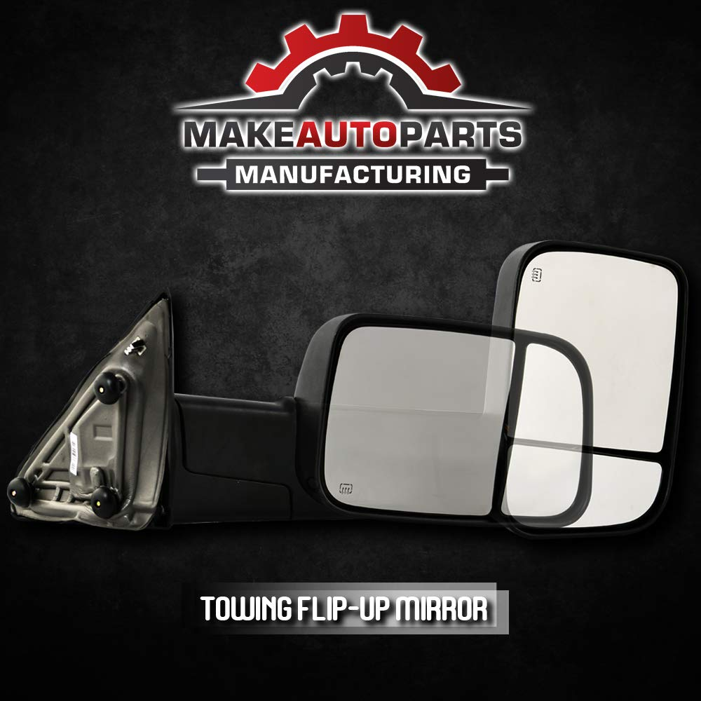 Make Auto Parts Manufacturing CH1321315 3500 2009-2012 Right//Passenger Side Power Operated Heated LED Signal Towing Mirror Textured Black For Dodge Ram /& Ram 1500//2500