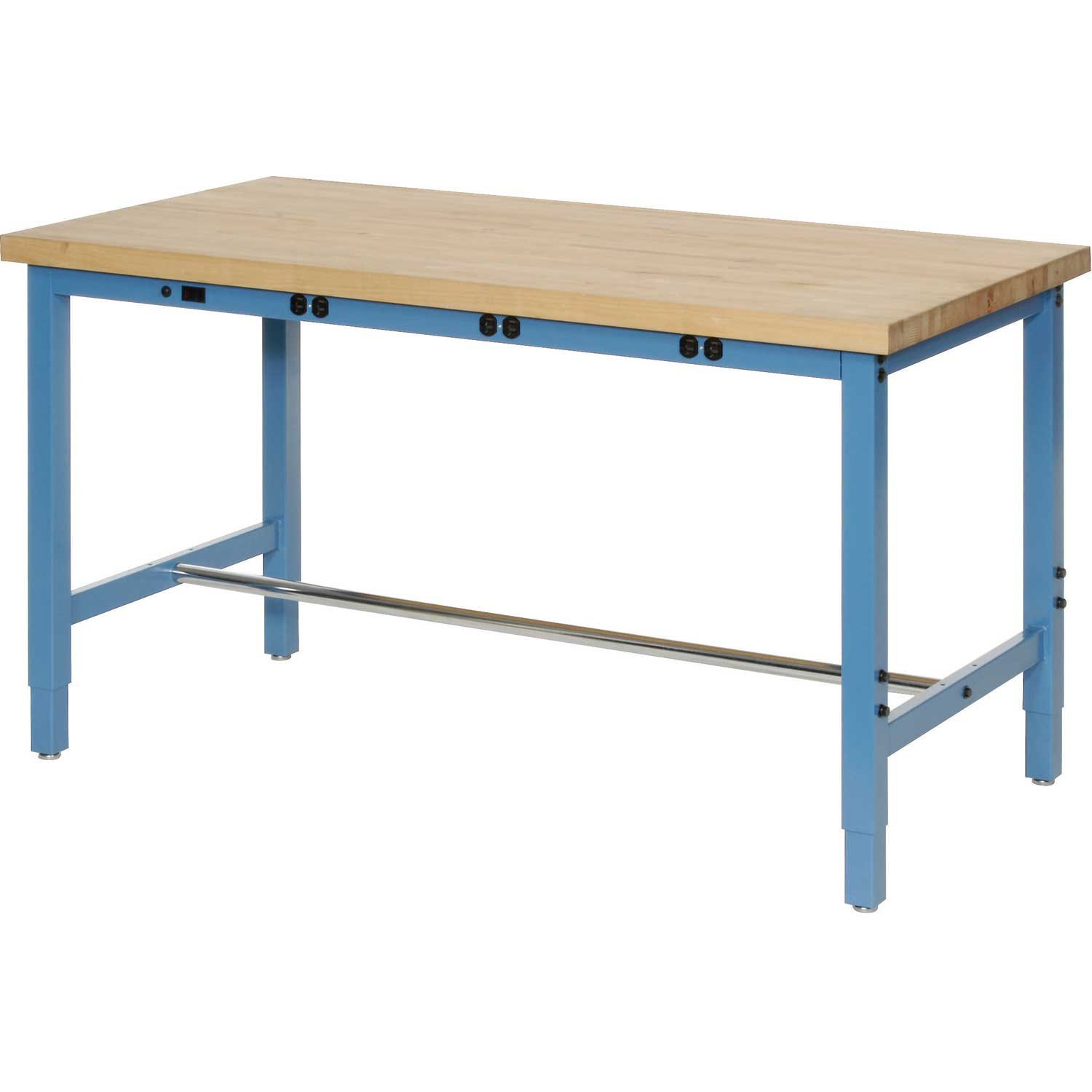 Production Workbench with Power Apron - Birch Butcher Block Square Edge - Blue, 48''W x 30''D