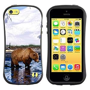 LASTONE PHONE CASE / Suave Silicona Caso Carcasa de Caucho Funda para Apple Iphone 5C / Cool Grizzly Bear