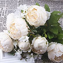 Shine-Co Artificial Peony Silk Flowers Bouquet Glorious Moral for Home Office Parties and Wedding (Milk White)