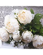 Shine-Co Artificial Peony Faux Silk Flowers Bouquet Glorious Moral for Home Office Parties Wedding (Milk White)