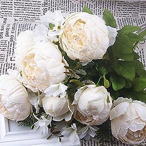 Silk Flower Arrangements SHINE-CO LIGHTING Artificial Fake Peony Silk Flowers Arrangement Bouquet for Home Office Parties and Wedding Decoration (Milk White)