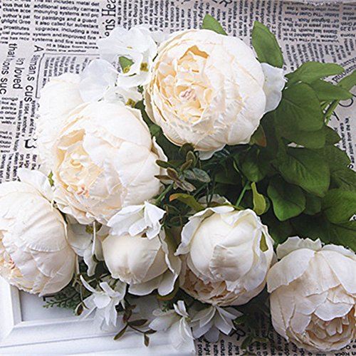 (SHINE-CO LIGHTING Artificial Fake Peony Silk Flowers Bouquet Glorious Moral for Home Office Parties and Wedding (Milk White))