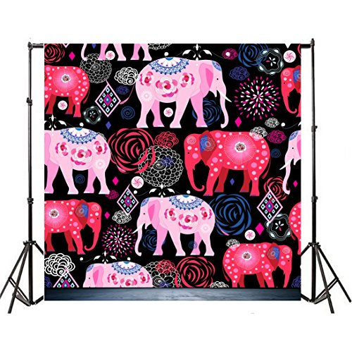 Leyiyi 7x7ft Photography Background Cartoon Elephant Backdrop Happy Birthday Party Banquet Firework Flowers Cube Halloween Easter Wallpaper Baby Shower Photo Portrait Vinyl Studio Video Prop -