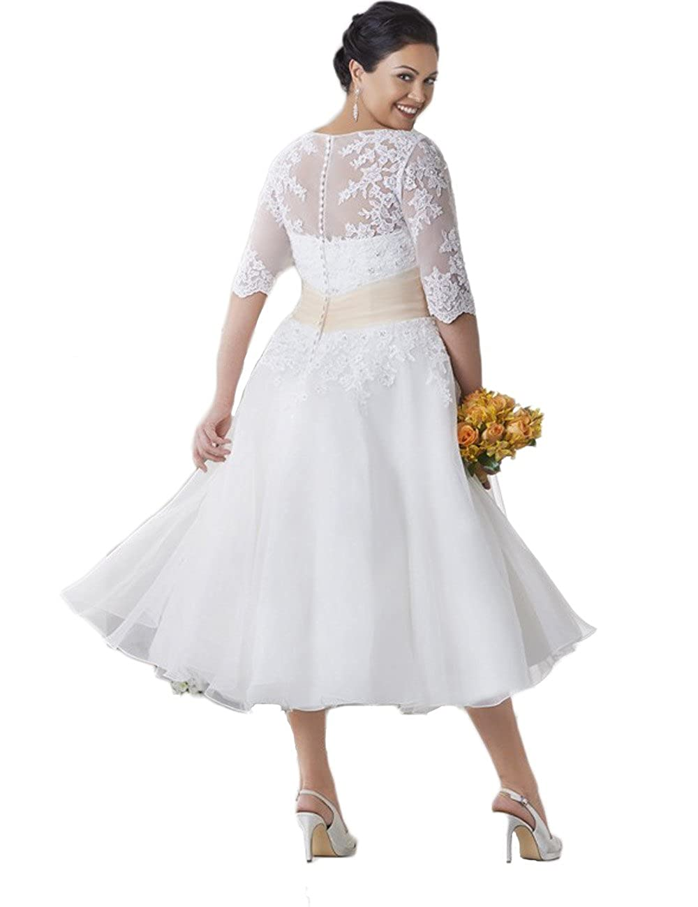 ffcc7e0e14f0b0 HotDresses Tea Length Wedding Dress Half Sleeve Plus Size Lace Wedding Gowns  at Amazon Women's Clothing store: