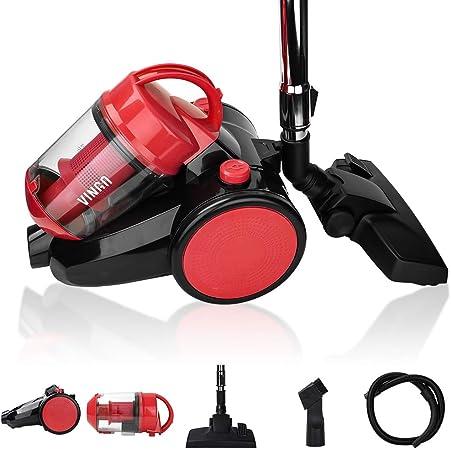VINGO Aspiradora de 900 vatios, filtro HEPA 12, cepillo de piso 2 en 1, manguera de 360 °, aspiradora 3L ciclón aspiradora sin bolsa roja [clase energética A]: Amazon.es: Hogar