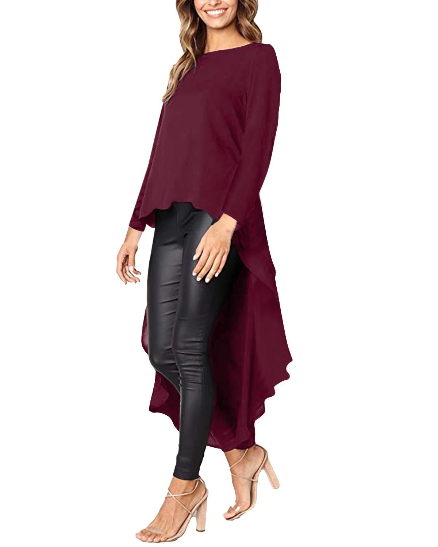 kenoce långärmad casual toppar lös O hals volang lång blus oregelbunden hög låg fåll maxiklänning pullover tröjor 02-wine Red