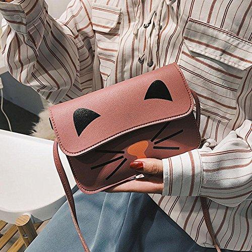 Girls Everpert Cat Shoulder Cute Teenage Handbags Pink Messenger Bags Pu Women Crossbody 8nRqrRpW