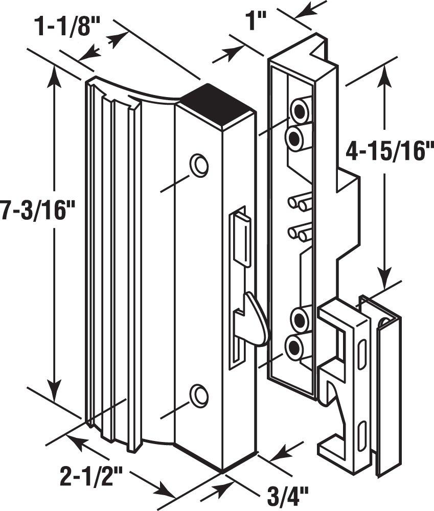 Almond//Aluminum//Diecast Prime-Line Products C 1119 Anti-Lift Sliding Door Handle Set