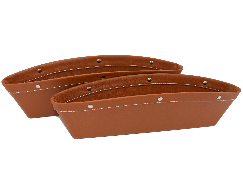 Car Pockets Car Seat Catch all Leather Car Pocket Organizer Seat Console Gap Filler Side Black Brown