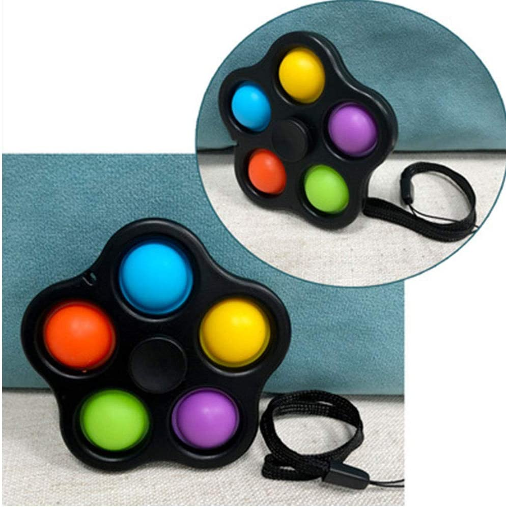 Black-A Stress Relief Hand Toys for Kids and Adults. Push Pop Bubble Sensory Fidget Toys Fingertip gyro Bubble Spin