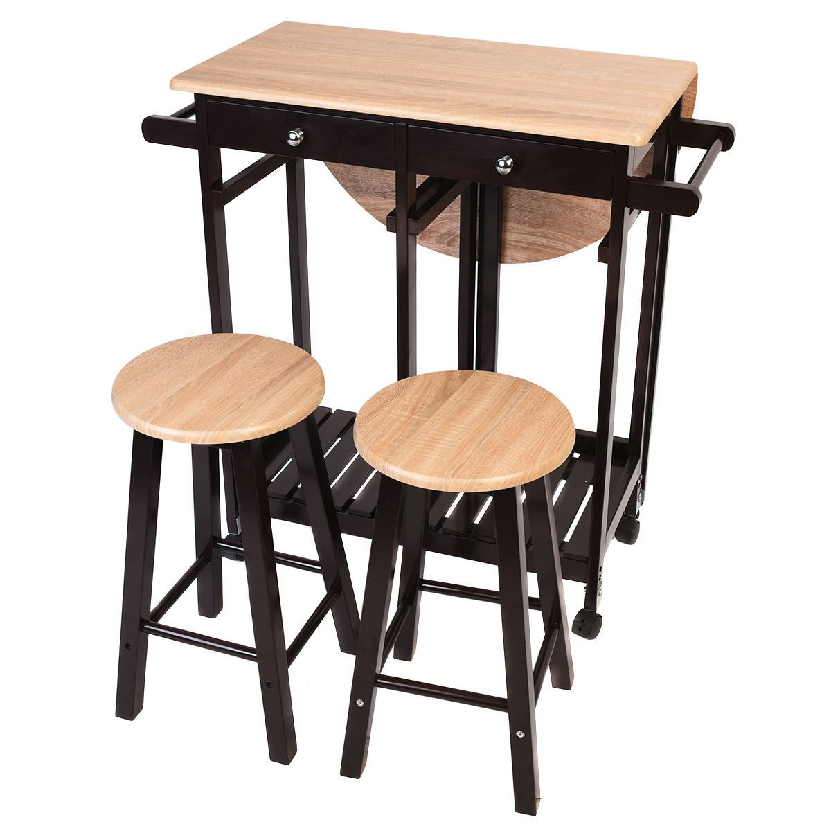 Honesty 3PC Wood Kitchen Island Rolling Cart Set Dinning Drop Leaf Table w/2 Stools