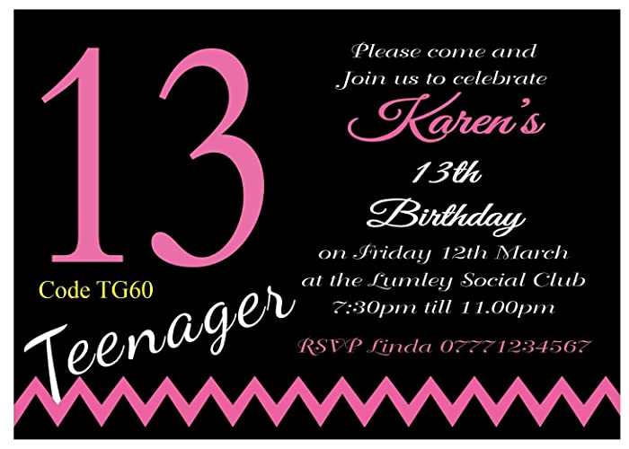 Birthday Invitation Cards For Teenagers Togo Wpart Co