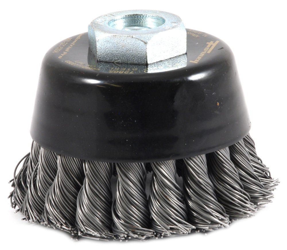 Forney 72865 Wire Cup Brush 3-Inch-by-.020-Inch Industrial Pro Twist Knot with M10-by-1.50//1.25 Multi Arbor