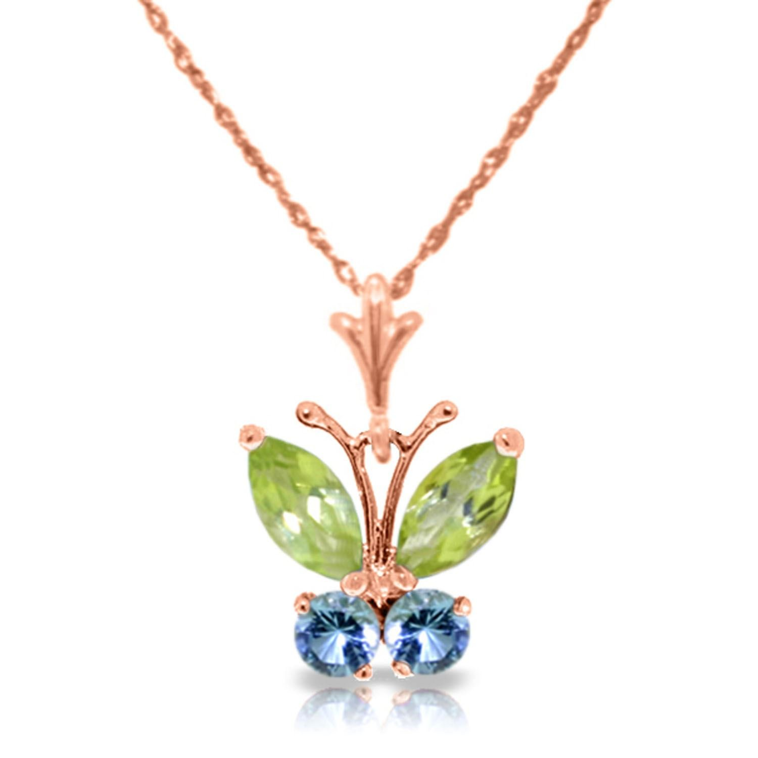 ALARRI 0.6 Carat 14K Solid Rose Gold Butterfly Necklace Blue Topaz Peridot with 18 Inch Chain Length