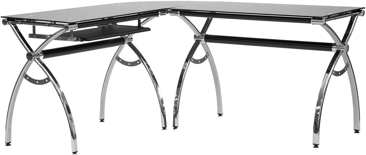 Techni Mobili L-Shaped Colored Tempered Glass Top Corner Desk With Pull Out Keyboard Tray, 61.25 W X 55 D X 30 H, Black