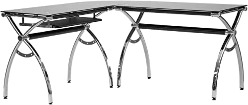 Techni Mobili L-Shaped Colored Tempered Glass Top Corner Desk
