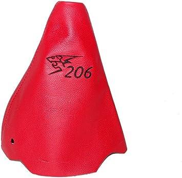 The Tuning-Shop Ltd Palanca de Cambios Negro Piel Logo Bordado de Punto de Color Rojo