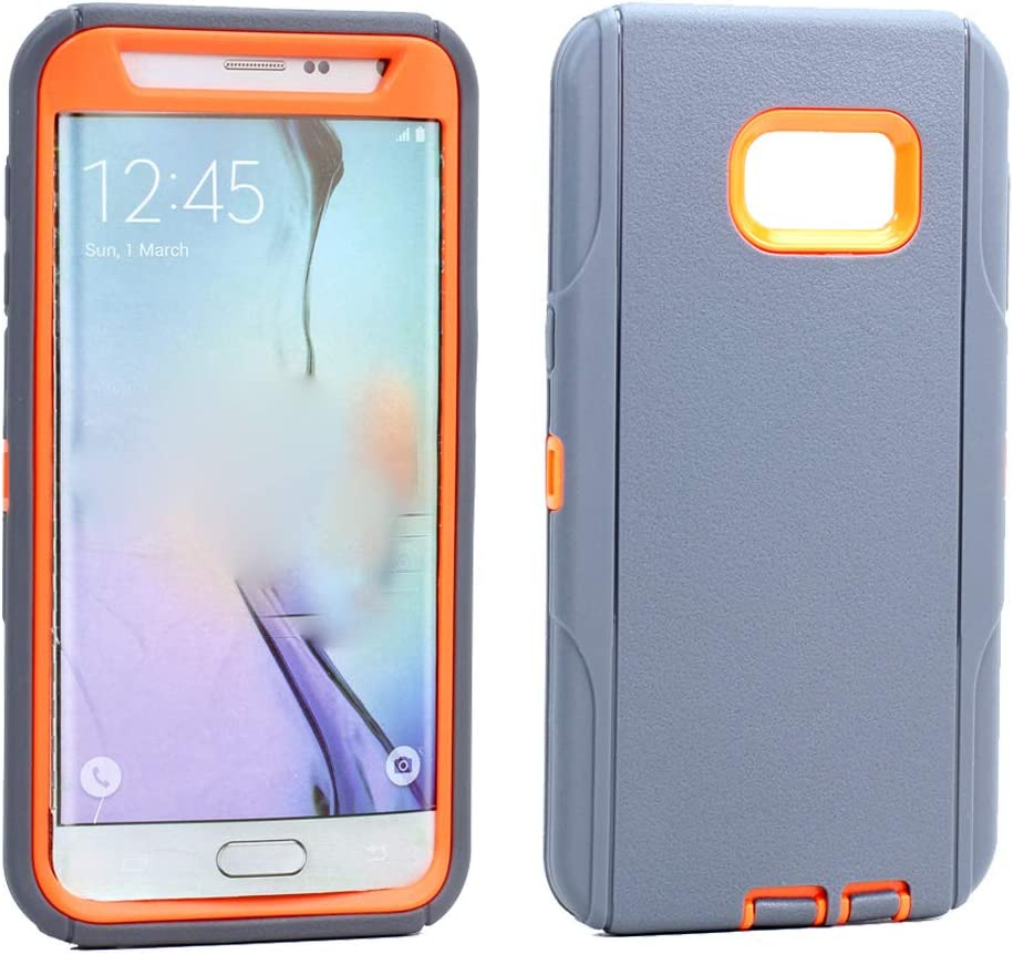 GummyCase Samsung Galaxy S6 Edge Plus Plastic Rubber Rugged Heavy Duty Matte Dual Layer Armor Defender Hybrid Protective Case Cover for Galaxy S6 Edge Plus, Gray Orange