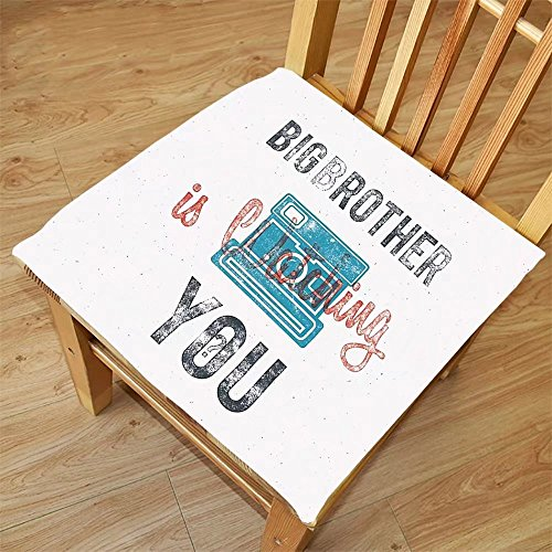 Nalahome Set of 2 Waterproof Cozy Seat Protector Cushion Vintage Decor Half Toned Big Brother Quote with Old-Fashion Analogue Camera Icon Web Print Blue Grey Printing Size - Sunglasses Blues Brothers Quote