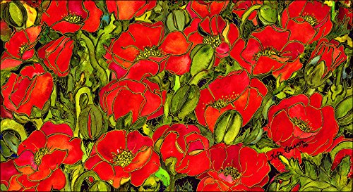 Toland Home Garden Red Poppies 20 x 38-Inch Decorative USA-Produced Anti-Fatigue Soft-Step Kitchen/Bathroom/Standing Desk Comfort Designer Mat
