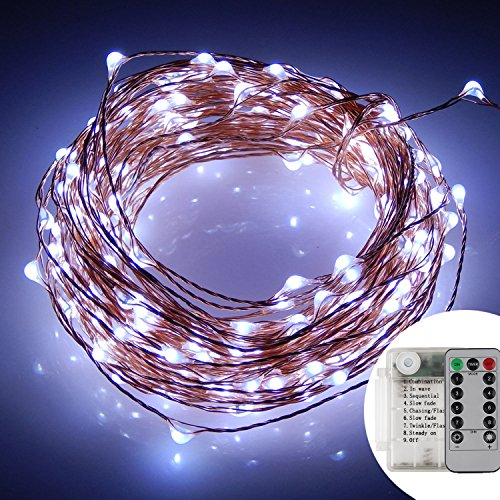JLYSHOP String Lights Battery, Copper Wire Fairy Lights 33 ft 100 LEDs, Waterproof Decorative Lights for Christmas Tree Garden Home Party Indoor/Outdoor (White)