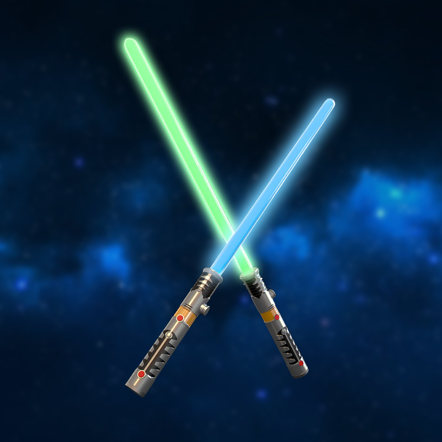 FUN LITTLE TOYS LED Light Saber Laser Sword FX Lightsaber Fighters Galaxy Warriors, 2 in 1 with Light and Sound Effect