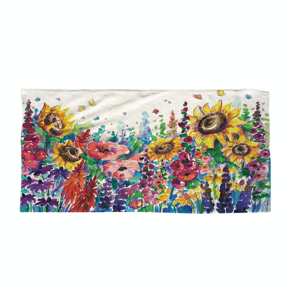 Cotton Microfiber Beach Towel,Modern,Floral Watercolor Style Wildflowers Country Kitchenware Flowers Art Print Decorative,Yellow Purple Red Green,for Kids, Teens, and Adults