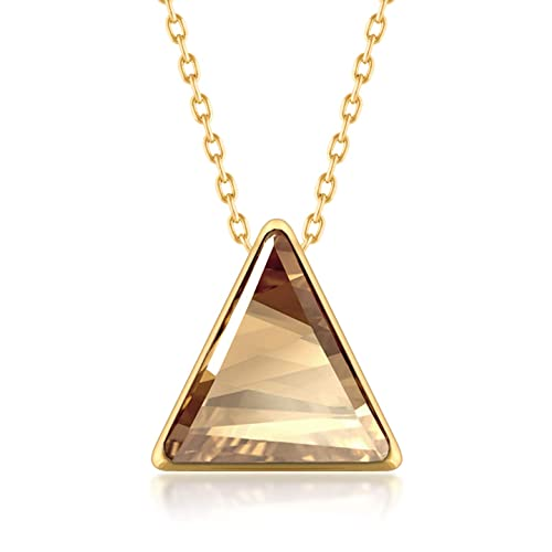5552b454fd856 Ed Heart Pendant Necklace with Yellow Beige Golden Shadow Triangle Crystals  from Swarovski Gold Plated