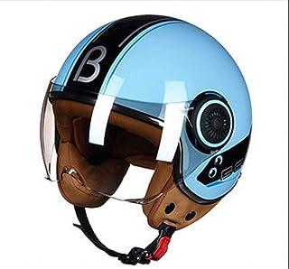 L&U Materiale ABS, Casco da Moto Retro Auto elettrica Brillante, con parabrezza, Casco Mezzo Moto, 4 Colori opzionali