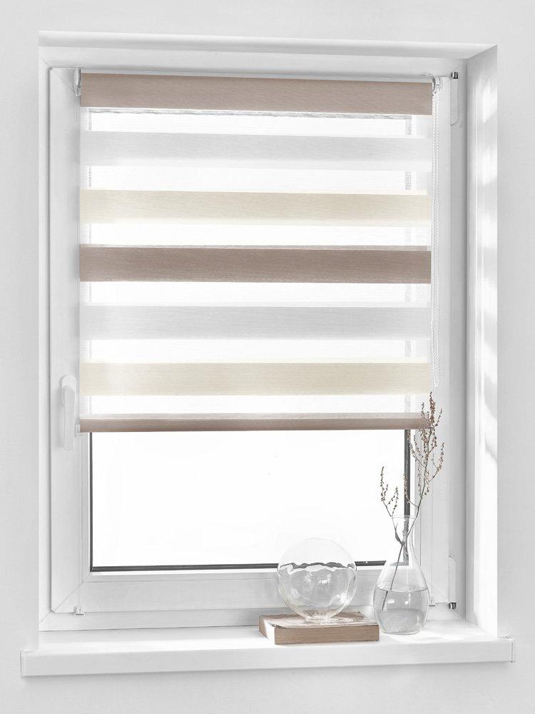 Vidella ZTC-2 39 Double Roller Blind Zebra 3-Colour Window Fittings 39cm, White/Cream/Beige